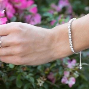 Jewelry - Sterling Silver Round CZs Friendship Bolo Bracelet